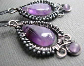 Deep mystery - Amethyst gemstone fine jewelry - Sterling silver wire and beads - artisan -  intricately wire wrapped - February birthstone