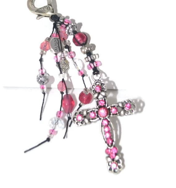 Cross Religious Gifts Pink Rhinestone Antique Silver Sparkling Keychain / Purse Jewelry Religious Gifts