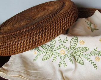 Vintage Linen Embroidered Table Runner Dresser Scarf Yellow Flowers Green Floral Cottage Chic