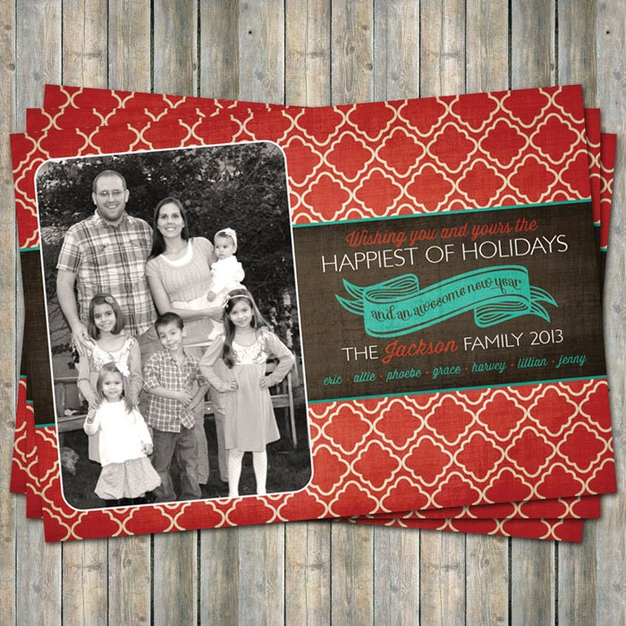 Holiday card with photo, Happiest of Holiday photo card, digital printable file