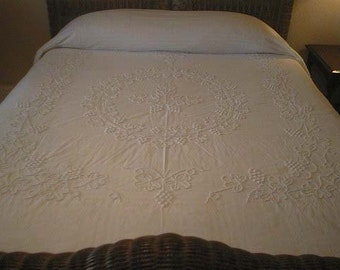 SALE - Elegant Handmade WHITE on White Handmade CANDLEWICK with Grapes and Leaves Vintage Chenille Bedspread - Free Shipping