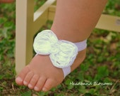 Adorable WHITE Bow Barefoot Sandals - Baby Shoes - Frayed Chiffon Flower Sandal - Newborn Baby Photo Prop 1st Birthday Christening Wedding