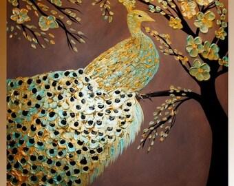 "XL Oil Landscape painting Abstract Original Modern 36"" palette knife oil  impasto oil painting by Nicolette Vaughan Horner"