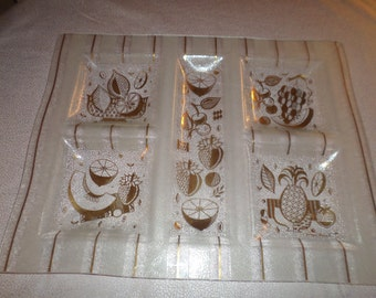 FANCY FORBIDDEN FRUIT / Very Large Georges Briard Signed Glass Tray / Gold Leafing / 5 Sections