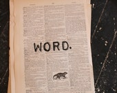 Word. One-word (word.) quotation on a repurposed (broken dictionary) book page - art print