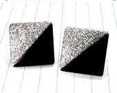 ON SALE glitter square earrings - square earrings - square studs - black and silver earrings - black and silver - glitter earrings - rocker
