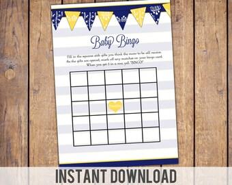 Instant download Bingo Baby Shower Game ,navy and yellow, gender neutral, baby shower games, baby bingo card