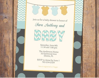 gender neutral baby shower invitation with banner, orange and turquoise, digital, printable file (item48)