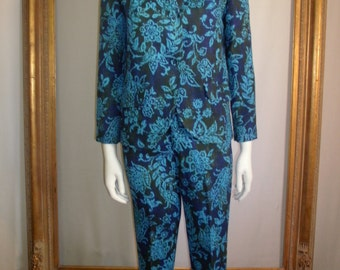 Vintage 1960's Portofino Blue Floral Print Pant Set - Size 0