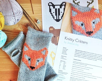 Knitty Critters Woodland Knitting Pattern PDF Colour Chart Fair-isle Duplicate Stitch