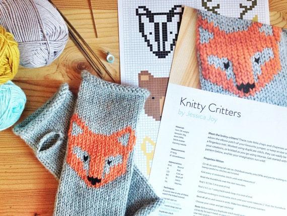 Duplicate Stitch Patterns For Knitting : Knitty Critters Woodland Knitting Pattern PDF Colour Chart