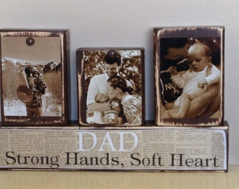 Personalized Fathers Day gift father photo with son and daughter sepia Dad strong hands soft heart