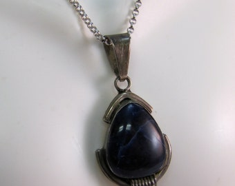 C1980's Handcrafted Sterling and Lapis Pendant