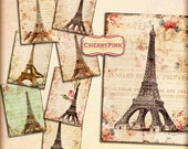 PARIS Digital Collage Sheet, digital paper,  shabby chic printable digital download gift tags