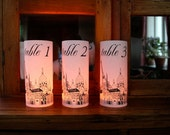 20 PARIS WEDDING LANTERNS Paris Table Number Luminaries - just add candles - set of 20