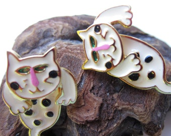 Adorable Marked AIM Gold Tone Enamel Articulated Moving Cat Earrings