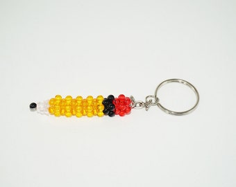 Beaded Keychain Pencil, Bead Pencil Keychain, Teacher Gift, Yellow Pencil Beaded, Keychain Writing Tool, Beaded Pen, Beaded Pencil, Student