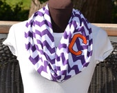 Monogrammed Chevron Infinity Scarf Purple and White Chevron