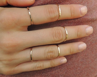 Stackable Gold Ring, knuckle ring, thin gold ring, top knuckle ring, midi ring, hammered gold ring, thin gold band, ring gold