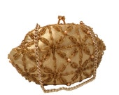 Vintage, Gold Beaded Purse, Clutch, Bridal Bag, Formal, Evening Bag