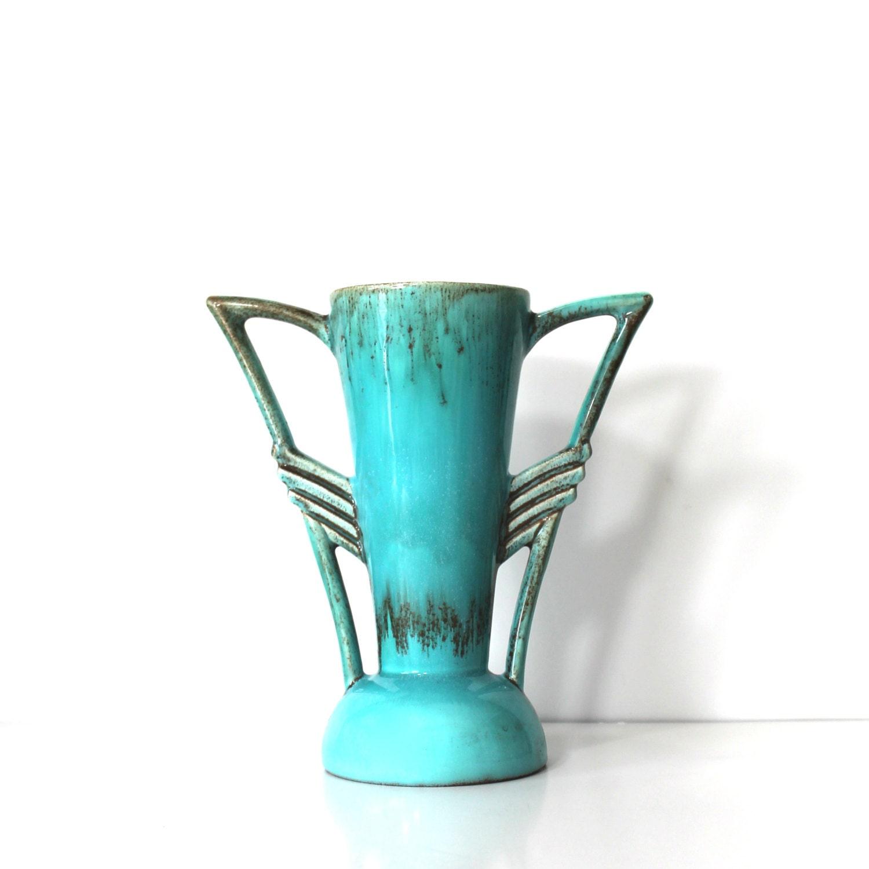 vintage beswick pottery art deco turquoise vase. Black Bedroom Furniture Sets. Home Design Ideas