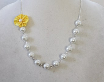 White Pearl and Canary Yellow Flower Necklace