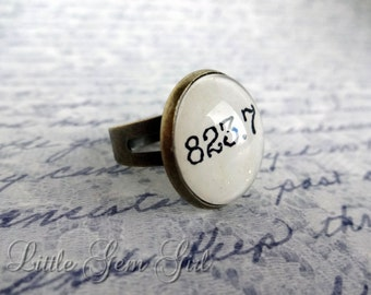 Jane Austen Book Jewelry - Book Quote Antique Bronze Ring - 823.7 Literature Book Nerd Dewey Decimal Library Book Jewelry Mary Shelley