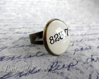 Jane Austen Book Jewelry - Book Quote Antique Bronze Ring - 823.7 Literature Book Nerd Dewey Decimal Library Book Jewelry Mary Shelley