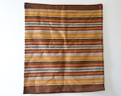 Vintage Pillow Case - Brown and Orange - Woven Pillow Cover Stripes Bohemian Pillow Case Striped
