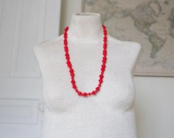 Vintage Red Glass Statement Necklace - Vintage Beaded Necklace Vintage Red Necklace Beads Glass Neckalce