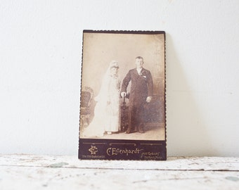 Vintage Wedding Photograph - Antique Photograph Married Couple Photo Portrait Black and White Marriage Haunting