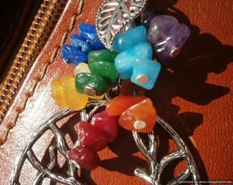 Gemstone CHAKRA and Tree of Life Bag Purse Charm - Yoga Bag Accessories, Key Ring, Reiki, 7 Chakra Jewelry, Rainbow Fob, Hinduism, Energy
