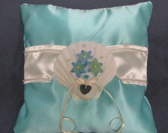 satin ring pillows, ring pillows, satin pillows, beach theme ring pillows