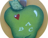 Teacher Apple Pin/Magnet  ABC  Green Hand Painted Wood
