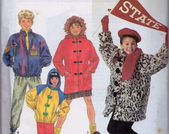 Simplicity 9871 Boys' and Girls' and Child's Lined Jacket Pattern, UNCUT, Size Small, Medium, Large, Vintage 1990, Toggle Coat, Warm Coat