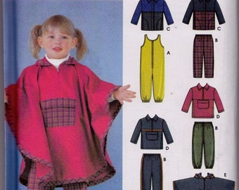Simplicity 5807 Toddlers' Jumpsuit, Pants, Jacket and Pullover Top and Poncho Pattern, UNCUT, SIze 1/2-1-2-3-4, Baby Clothes, 2002