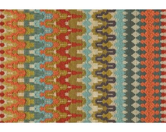 20 X 12 lumbar Kravet Eye Candy woven texture zigzag chevron southwest ikat turquoise green blue red orange pillow cover