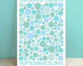 Wedding Tree Guest Book Canvas - Radiah Multi - Peachwik Interactive Wedding Canvas - 150 guests- Retro Circles - Gallery Wrapped Canvas