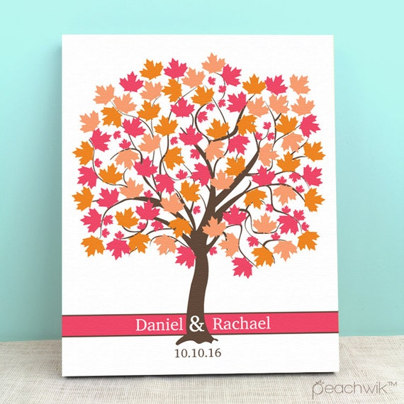 Wedding Guest Signing Tree: Wedding Guest Book Canvas Guest Book Tree Maple By Peachwik