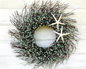 Coastal TWIG STAR FISH Wreath-Teal Blue  Wreath-SeaSide Door Wreath-Gift for mom-Coastal Home Decor-Scented Vanilla-Choose Scent and Ribbon
