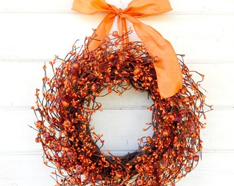 Thanksgiving Wreath-READY to SHIP-Fall Wreath-Scented Mini Pumpkin Wreath-Autumn Door Wreath-Thanksgiving Decor-Rustic Holiday Home Decor