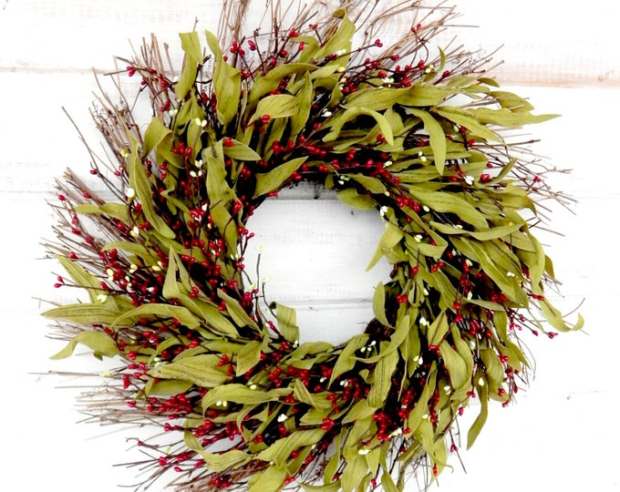 Featured listing image: Christmas Wreath-Winter Wreath-Winter Door Wreaths-Christmas Home Decor-Door Wreath-Rustic Home Decor-Twig Wreath-RED Bay Leaf Wreath-Gifts