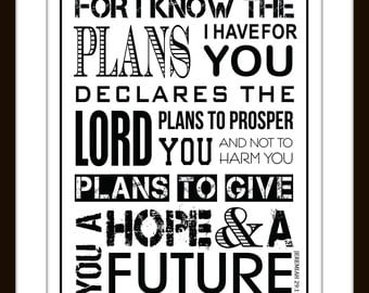 Jeremiah 29:11 Scripture Wall Art Typography Print, Graduation, Confirmation gift for boy, Christian Wall Art,