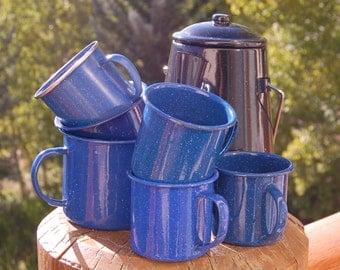 Eclectic Enamelware Mugs Set of 6 Kettle Graniteware Blue Black