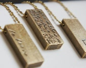 Gold Bar Raw Brass Personalized Custom Initial Name Text Quote Rustic Necklace