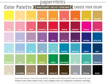 Color Chart for Papermints Prints, Canvas, and Stationery, Color Palette, Choose Any Color for Nursery Art, Wedding Prints, and Home Decor