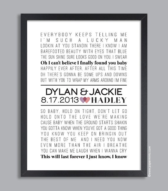 Personalized Wedding Gift 11x14 Song Lyrics Wall By