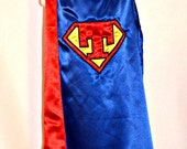 Custom Super Hero Cape Super kid with initial- Embroidered - Two colors