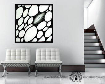 """Black and white abstract art with Swarovski®. Home decor """"ALIVE no.3"""". Black & white art. Large contemporary art. Modern art Lydia Gee"""