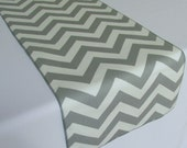 Gray and White Chevron table runner - SELECT A SIZE